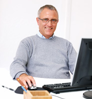 Smiling male customer in home office